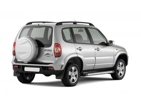 Защита порогов с площадкой d63мм Chevrolet Niva FL (нерж)